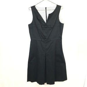 Donna Ricco Black Retro Pleat Front Dress  Size 12